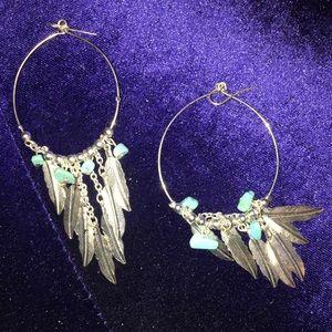 Dangly Feather Boho Hippie Hoop Earrings